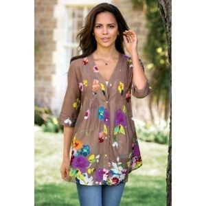 Soft Surroundings Top floral button tunic Brown